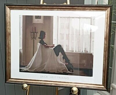 """VERY LARGE!! 35""""x 27"""" In Thoughts of You by Jack Vettriano Deluxe Framed Print"""
