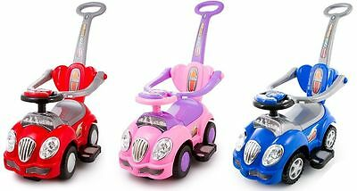 Walker Ride On Push Along Baby CAR 3in1 Parent Handle with Beep Sound KP0558