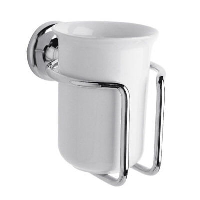 Fixed Ceramic Wall Mounted Tumbler Holder Chrome Bathroom En-suite WC Brand New