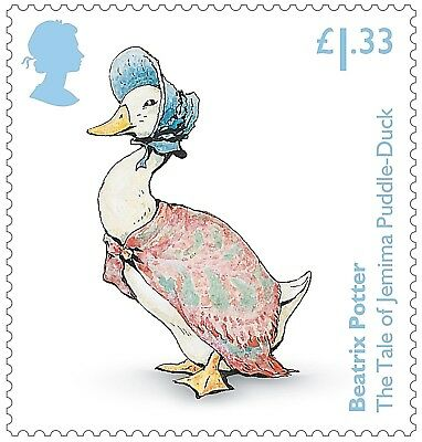 """Beatrix Potter """"The Tale of Jemima Puddle-Duck"""" illustrated on 2016 stamp - U/M"""