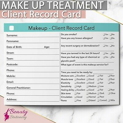 Makeup Client Record Card Treatment Consultation Beauty Salons Therapists Spa A6