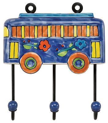 "Hand-Painted Ceramic Large Blue Bus Wall Hook - 7.5""Lx6.5""W"