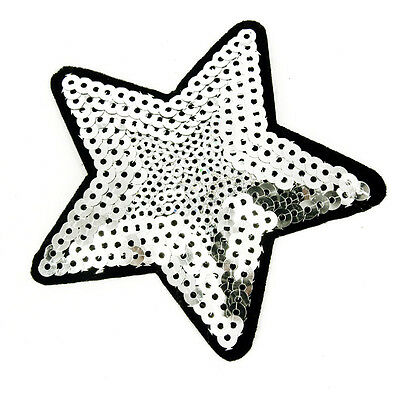 Silver Sequin Star  Embroidered patch Sew on cloth badge Applique Patch P40