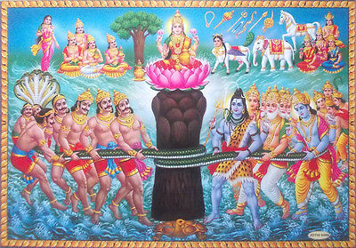 Samundra Manthan * Churning of the Ocean - Hindu Gods Deva Arura POSTER - 20x30