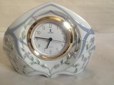 Vintage Lladro Porcelain Mantle / Desk Clock Made In Spain New in Orig Box