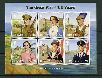 Jersey 2014 MNH WWI Great War Pt I Participation 6v M/S Red Cross Stamps