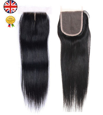 "Straight 4x4"" Hair Parting Lace Top Closure 6A Virgin Brazilian Remy Human Hair"