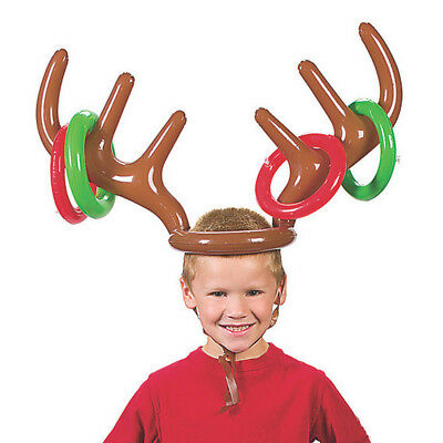 Blow-Up Inflatable Reindeer Antler Hat 4 Rings TOSS Christmas Holiday Game
