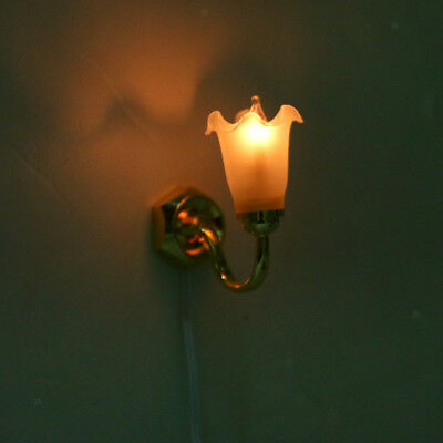 Dolls House Miniature Working Wall Lamp LED Light Lighting Floral Shade 12V 12th