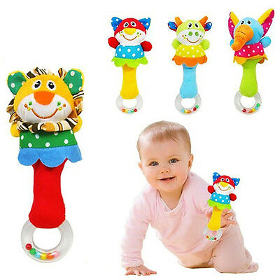 Animal Handbells Musical Toy Bed Bells Soft Baby Kids Toys Rattle New US Seller