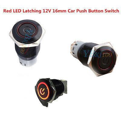 Red LED Latching ON-OFF 16mm 12V Car Boat Black Metal Push Button Switch