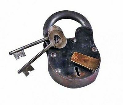 Small Cast Iron Lever Lock Padlock With Keys Pirate Chest, Model- 1103 -#