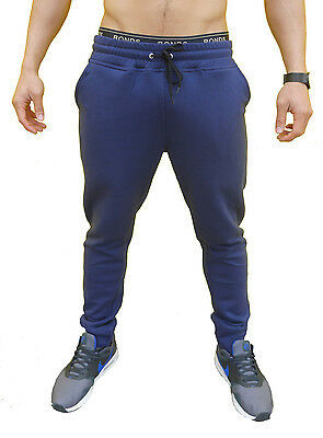 New Mens Blue Skinny Track Pants Skinny Leg Joggers Trackies Cuff Pants Gym
