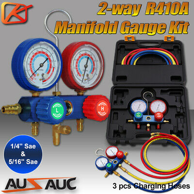 Air Manifold Gauge Tool Set Conditioning Refrigeration R410A R22 Refrigerant