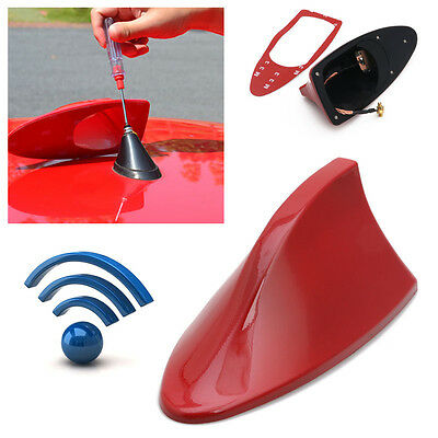 Universal Red Shark Fin Style Auto Car Roof Radio AM/FM Signal Aerial Antenna