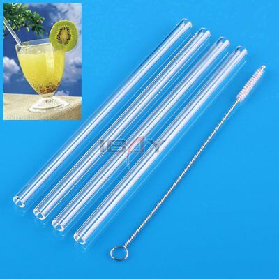 4pcs Bent / Straight Glass Tube Drinking Straw Sucker with 1 Cleaning Brush