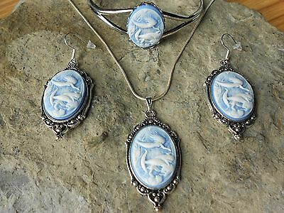 Playful Mermaid (S) Cameo Necklace. Bracelet, And Earrings Set - Silver Plated