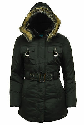 Womens Girls Parka Coat School, Office, Work Jacket with Belt and Hood