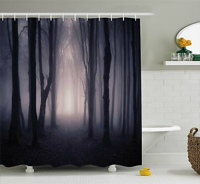 Shower Curtain Forest Path in Misty Dark Jungle with Fog 70 Inches Long