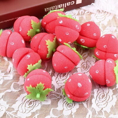 12x Strawberry Balls Hair Care Soft Sponge Rollers Curlers Lovely DIY Tool YL