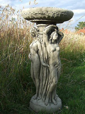 THREE GRACES BIRD BATH FEEDER Hand Cast Stone Garden Ornament Statue Onefold-uk