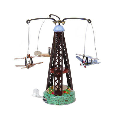Retro Wind Up Rotating Airplane Carousel Clockwork Tin toy Collectible Gift