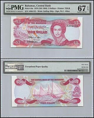 Bahamas $3 Dollars, 1974 (ND 1984), P-44a, UNC, Sailing Ship, QEII, PMG 67 EPQ