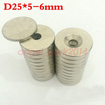 Wholesale 25x5 hole 6 mm N50 Strong Neodymium Magnets Disc Cylinder Rare Earth