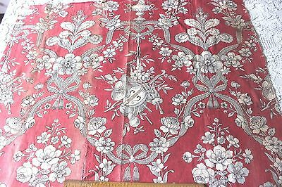 """French Antique c1870  Floral Red Toile Cotton Fabric~L-27""""X W-30"""""""