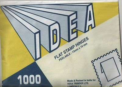 Stamp Hinges - IDEA brand made in India pack of 1,000 flat hinges