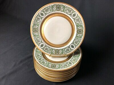 """9 Heinrich & Co. Selb Bavaria 10&7/8"""" Dinner Plates Green Scrolls Lots of Gold"""