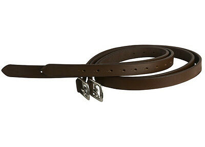 """Genuine Quality Horse Stirrup Leathers Black & Brown Full 60"""" Cob 54"""" Ss Buckle"""