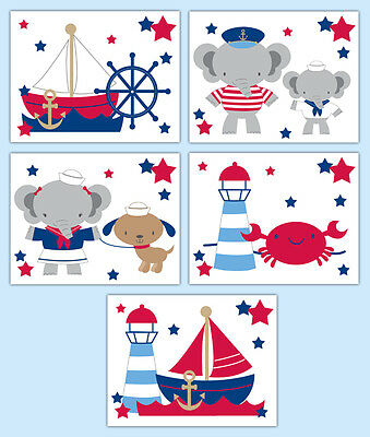 Nautical Nursery Prints Elephant Sailboat Baby Boy Girl Neutral Wall Art Decor