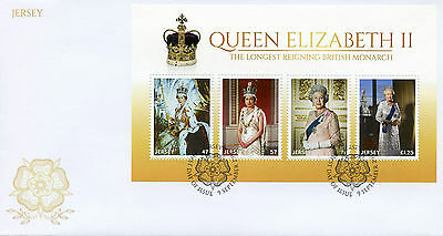 Jersey 2015 FDC Queen Elizabeth II Longest Reigning 4v M/S Cover Royalty Stamps