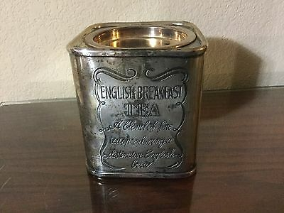 Vintage Silverplated Brass English Breakfast Tea Tin/Caddy/Canister/Container