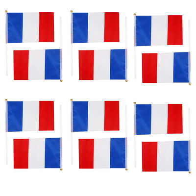 """12pcs FRANCE HAND WAVING FLAG Small 8"""" x 5"""" with pole FRENCH PARIS FRANCAIS"""