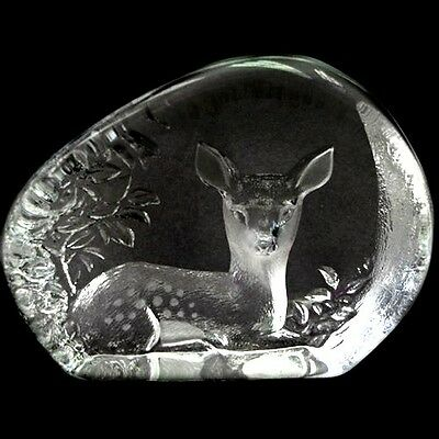 Swedish Etched Crystal paperweight Seated Woodland Fawn MATS JONASSON