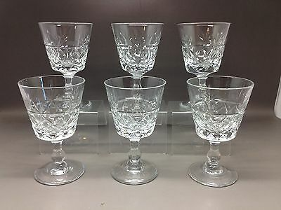 6 Small Royal Brierley Glasses (Sherry?) 9.5 Cm - Bruce Cut Design? (1 Fault)