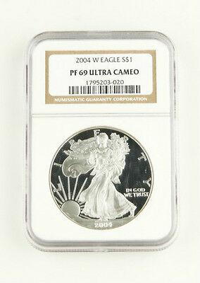2004 W PROOF $1 AMERICAN EAGLE 1 Oz SILVER FLAWLESS NGC PF 69 ULTRA CAMEO COIN