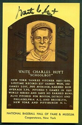 Hall Of Fame HOF Postcard WAITE HOYT Autograph Signed
