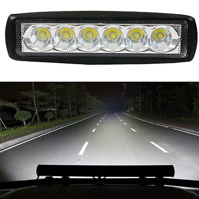 "18W 6"" LED Work Light Bar 4WD Spot Beam Offroad Driving Fog Lamp ATV SUV Truck"