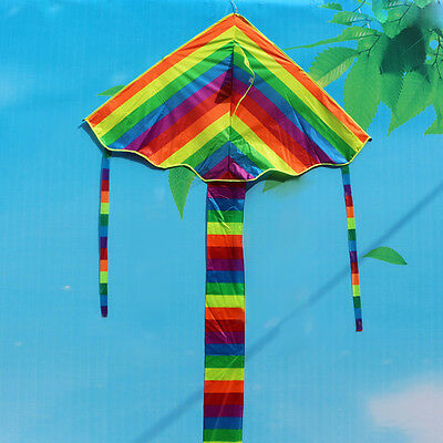 Colorful Rainbow Funny Children Triangle Kite Outdoor Sports Beach Fly Toys Gift