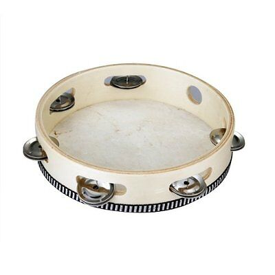 """H1 8"""" Musical Tambourine Drum Round Percussion Gift for KTV Party"""