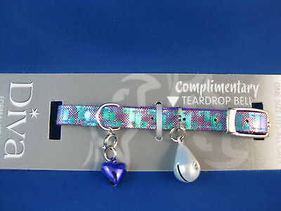 Cat Collar - Diva Mosaic Purple with Safety Elastic & Teardrop Bell