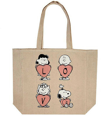 Cotton On Peanuts Snoopy LOVE beige cotton tote eco reusable shopping bag
