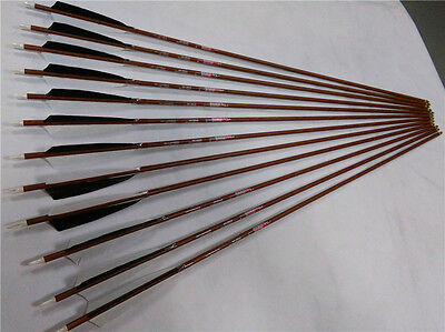 12*32''carbon arrows wood skin with 5'' Turkey 1 black 2 white for bow shooting