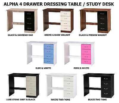 New Alpha | High Gloss 4 Drawer Dressing Table Study Desk | Modern Bedroom Units