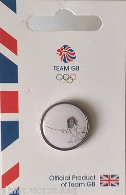 Official Team Gb Rio 2016 Mascot Fencing Pictogram Pin