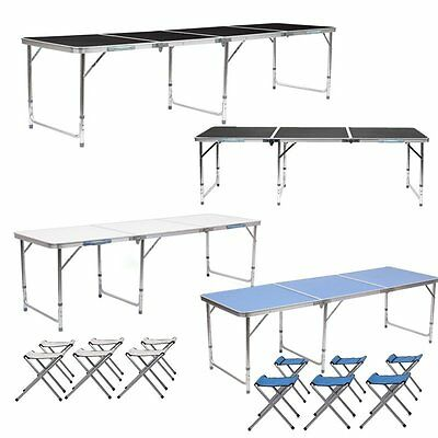 6FT / 8FT Folding Camping Table Adjustable Garden Party BBQ Picnic Dining Tables