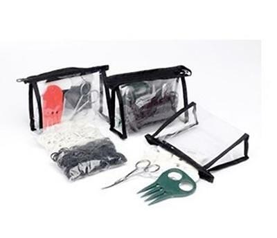 Lincoln Plaiting Kit horse pony showing, scissors, thread, bands, comb in Brown